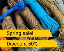Anticrisis spring sale! Discount 50% Paracord 550