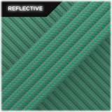 Super reflective paracord 50/50 , Emerald green Stripes #RSt086