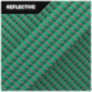 Paracord reflective, Emerald green wave #086 50/50