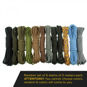 Paracord Type III 550, Military color set 6x5m (30m)