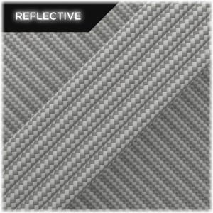 Super reflective paracord 50/50, Silver Stripes #RSt002