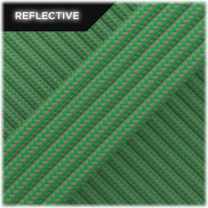 Super reflective paracord 50/50 , Green Stripe #RSt025