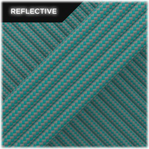 Super reflective paracord 50/50, Neon turqoise Stripes #RSt034
