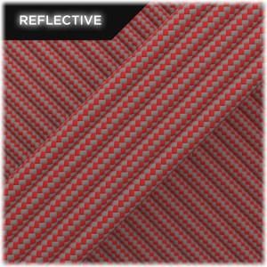 Super reflective paracord 50/50 , Light red Stripes #RSt324